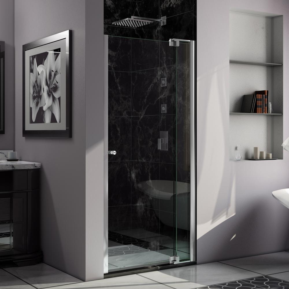 Allure 37 in. to 38 in. x 73 in. Semi-Frameless Pivot Shower Door in Chrome