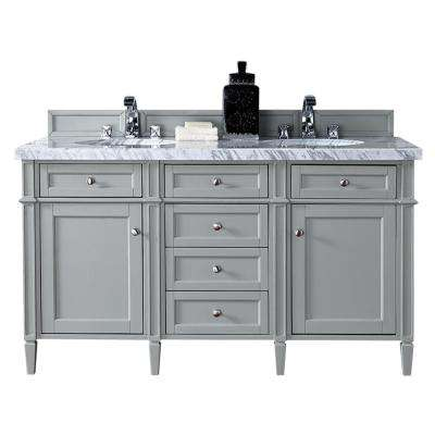 Brittany 60 in. W Double Vanity in Urban Gray with Marble Vanity Top in Carrara White with White Basin
