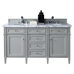 James Martin Signature Vanities Brittany 60 inch W Double Vanity in Urban Gray with Marble Vanity Top in Carrara White... by James Martin Signature Vanities