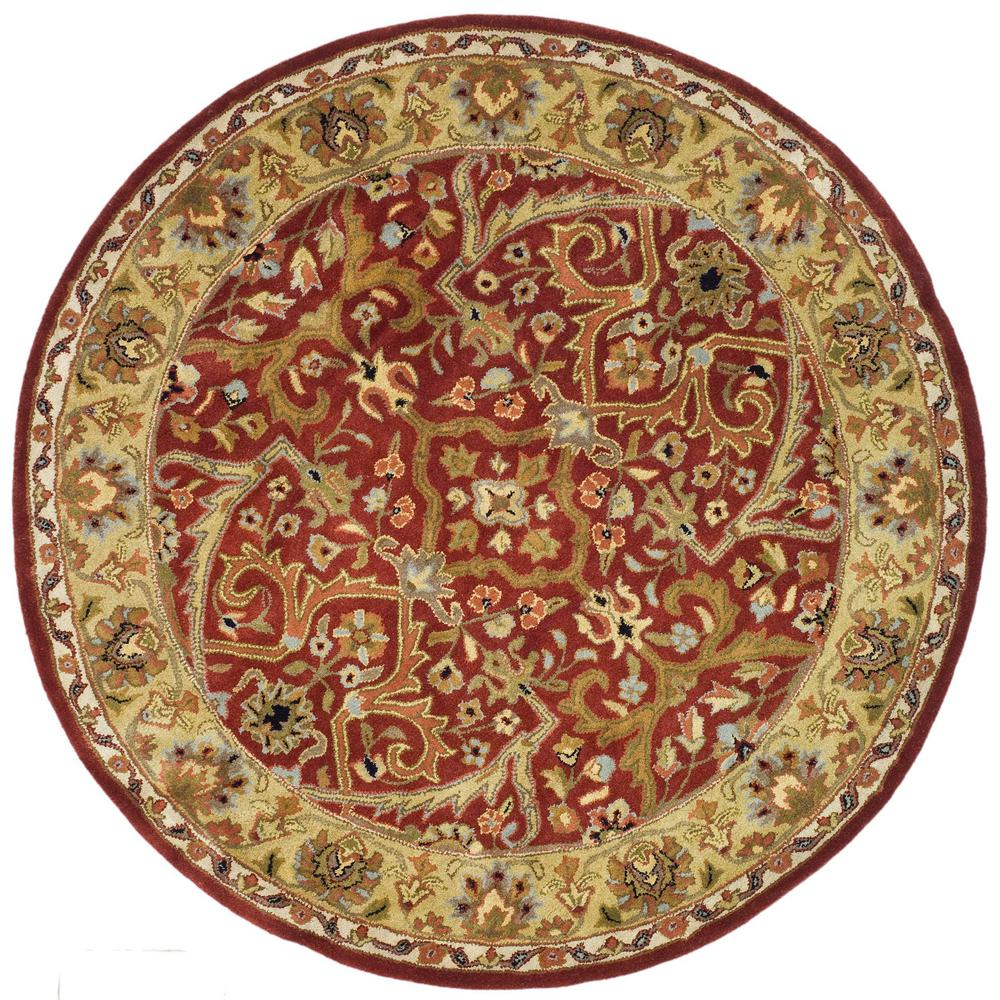 Hand Tufted Agra Red Gold Wool Rug 8 Round: Safavieh Heritage Red/Gold 6 Ft. X 6 Ft. Round Area Rug