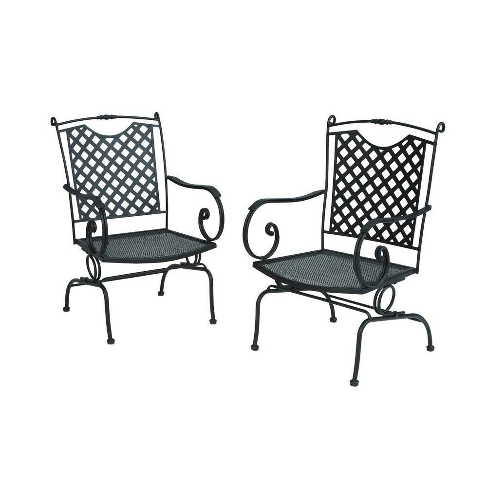 null Wrought Iron Lattice Back Action Patio Dining Chairs in Black (2-Pack)-DISCONTINUED