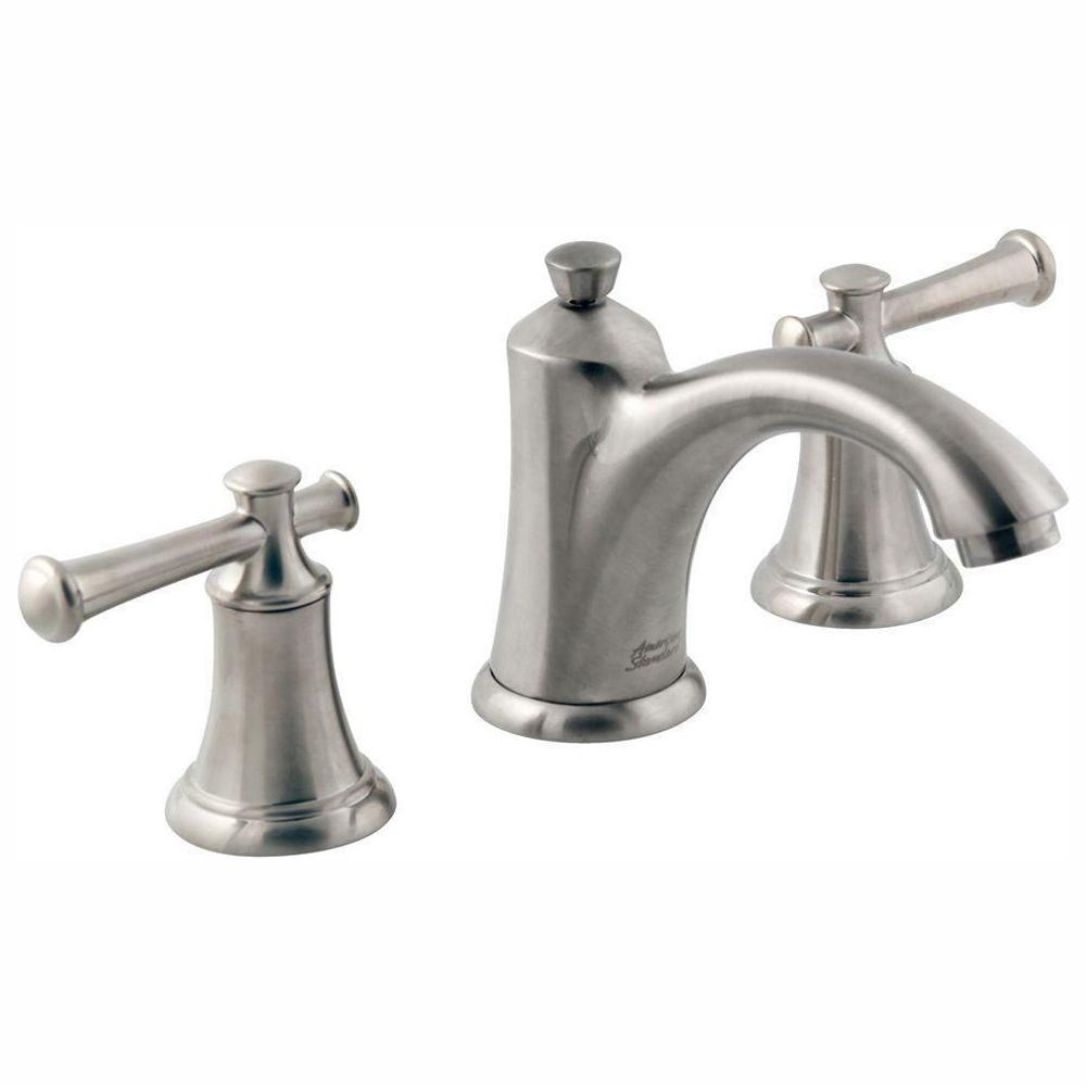 American Standard Portsmouth 8 in. Widespread 2-Handle Mid-Arc Bathroom Faucet in Brushed Nickel with Drain and Lever Handles