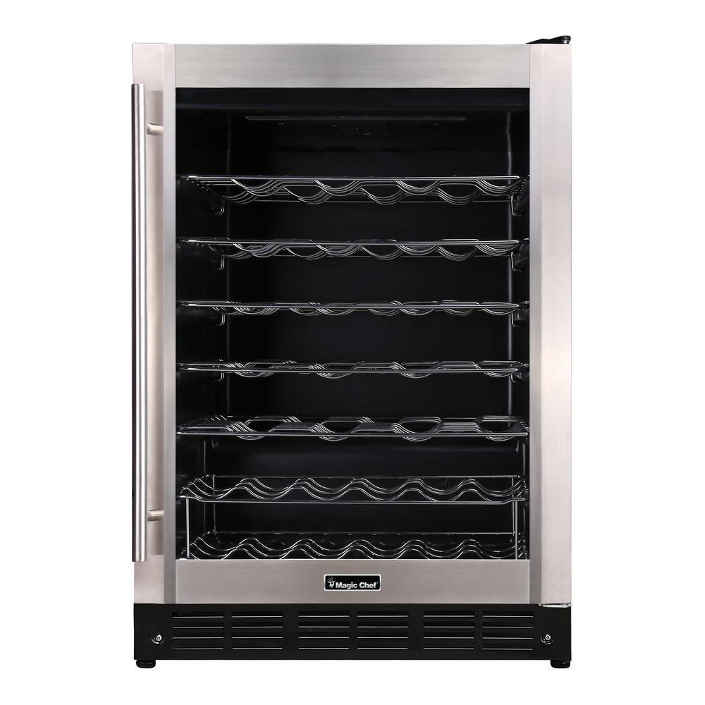 Magic chef 23 4 in w 50 bottle wine cooler in stainless for Modern homes 8 bottle wine cooler