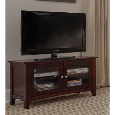 Shaker Cottage 36 in. Espresso Particle Board TV Stand Fits TVs Up to 55 in. with Adjustable Shelves