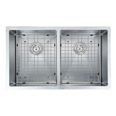 Prestige Series Undermount Stainless Steel 28 in. Double Bowl Kitchen Sink in Satin-Finish with Grids & Strainers