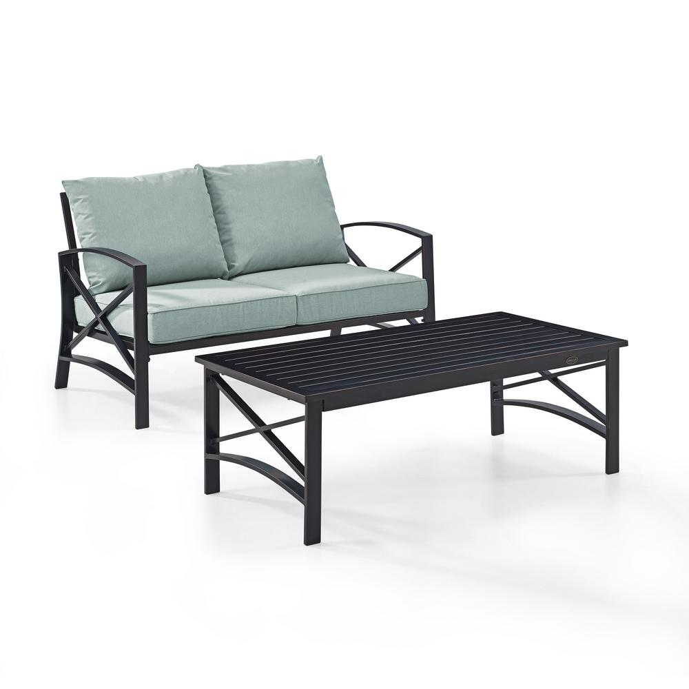 Awesome Kaplan 2 Piece Metal Patio Outdoor Seating Set With Mist Cushion Loveseat Coffee Table Ocoug Best Dining Table And Chair Ideas Images Ocougorg
