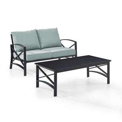Kaplan 2-Piece Metal Patio Outdoor Seating Set with Mist Cushion - Loveseat, Coffee Table