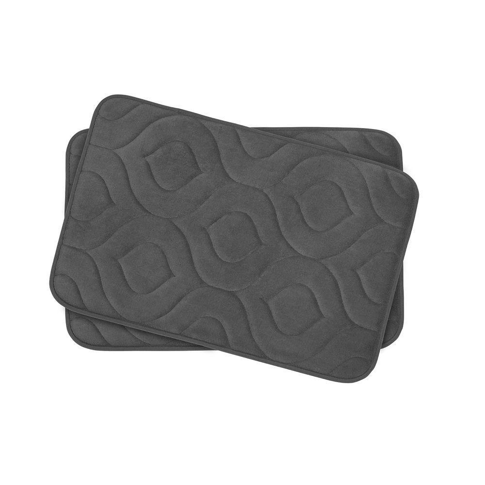 Naoli Dark Gray 17 in. x 24 in. Memory Foam 2-Piece Bath Mat Set