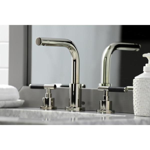 Kingston Brass Kaiser 8 In Widespread 2 Handle Bathroom Faucet In Polished Nickel Hfsc8959ckl The Home Depot