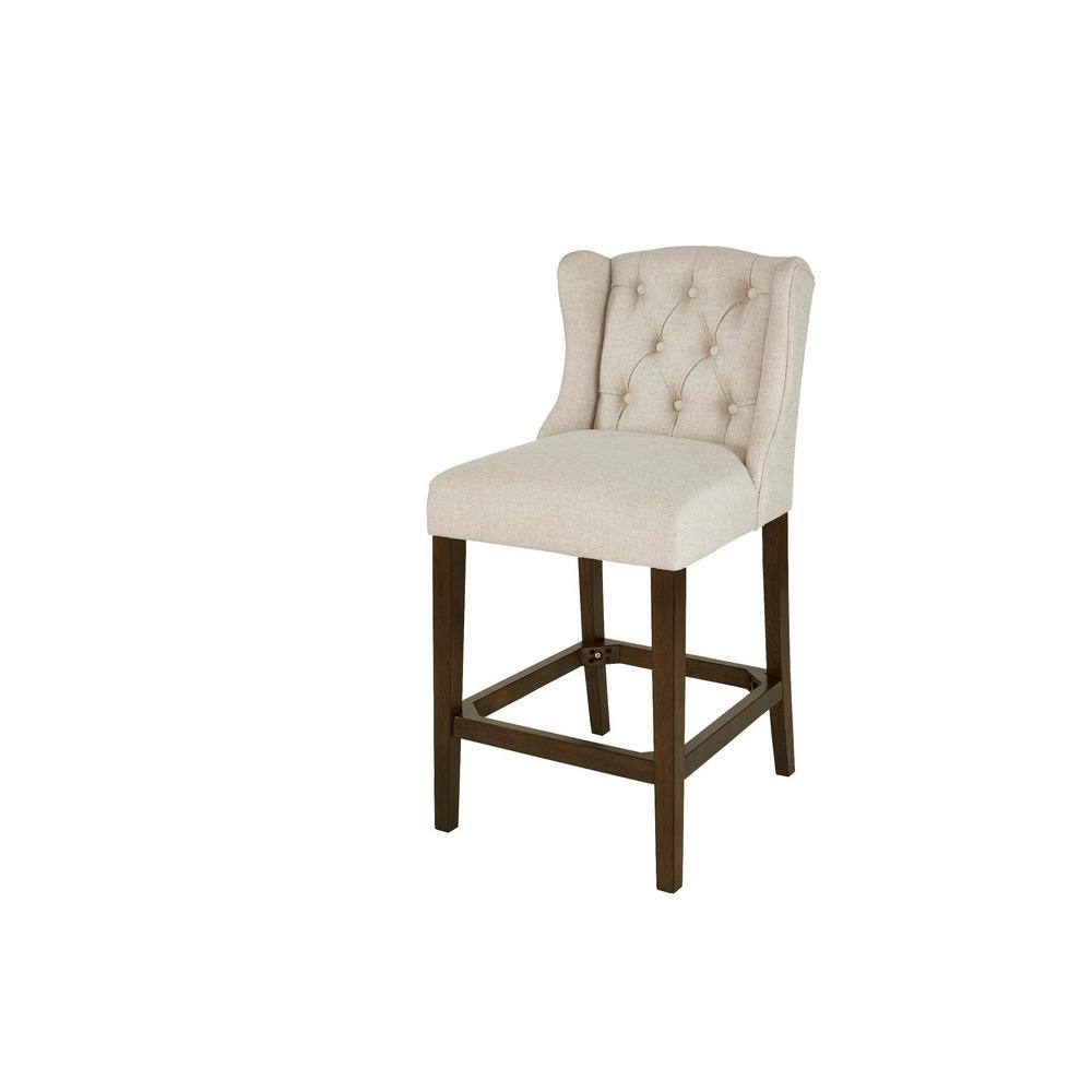 Belcrest Sable Brown Wood Upholstered Counter Stool with Back and Biscuit Beige Seat (20.08 in. W x 40.16 in. H)