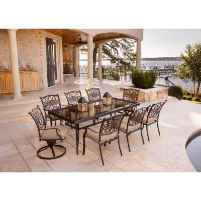 Traditions 9-Piece Aluminum Outdoor Dining Set with Rectangular Glass Table and 2 Swivels with Natural Oat Cushions
