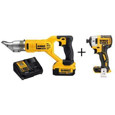 20-Volt MAX Lithium-Ion Cordless 18-Gauge Swivel Metal Shears w/ (2) Batteries 4Ah and Bonus XR Brushless Impact Driver