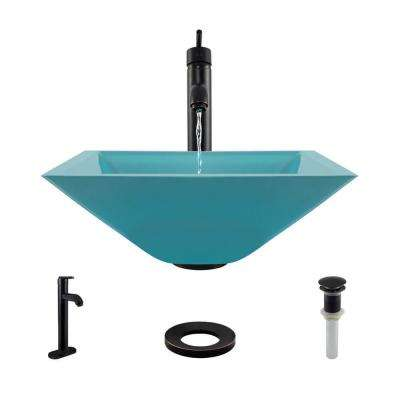 Glass Vessel Sink in Cerulean with R9-7001 Faucet and Pop-Up Drain in Antique Bronze