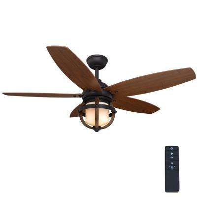 Noah 52 in. LED Indoor Forged Iron Ceiling Fan with Light Kit and Remote Control