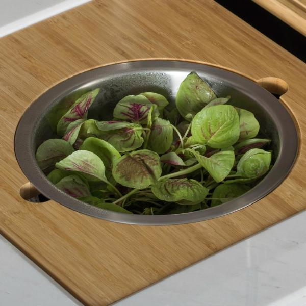 16.75 in. Workstation Serving Board Set with Stainless Steel Mixing Bowl for Kitchen Sink