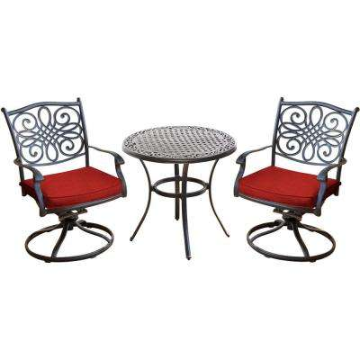Traditions 3-Piece Outdoor Aluminum Swivel Rocker Bistro Set with Red Cushions