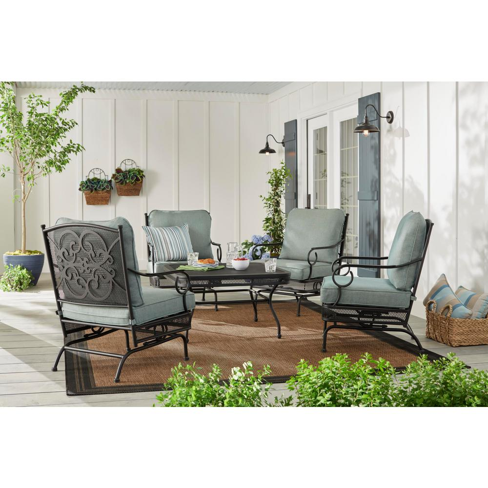 Hampton Bay Amelia Springs 5-Piece Patio Conversation Set with Spa Cushions