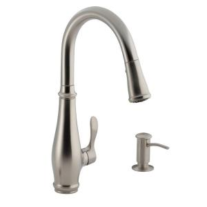 cruette single handle pulldown kitchen faucet in vibrant stainless - Kohler Simplice