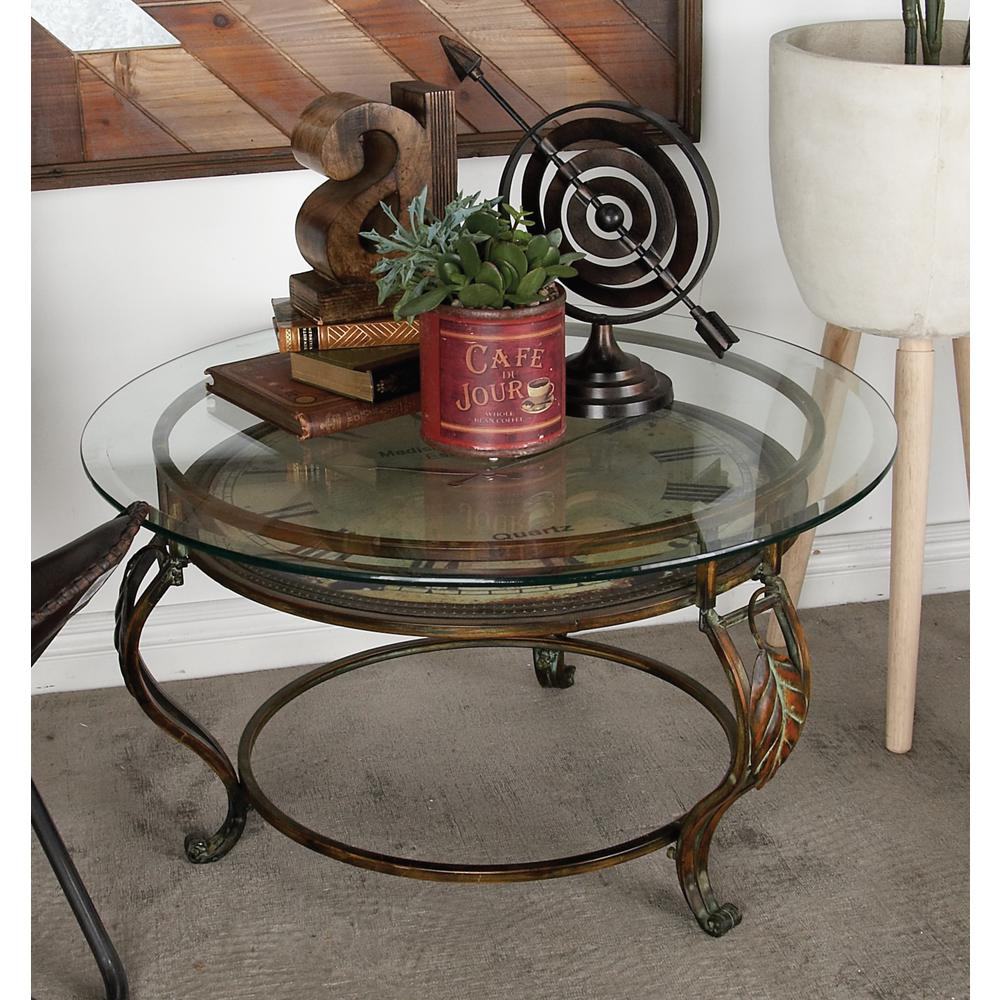 Brown Cocktail Table with Clock