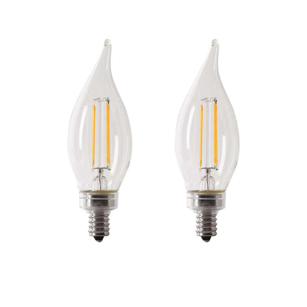 40-Watt Equivalent CA10 Candelabra Dimmable Filament CEC LED ENERGY STAR Clear