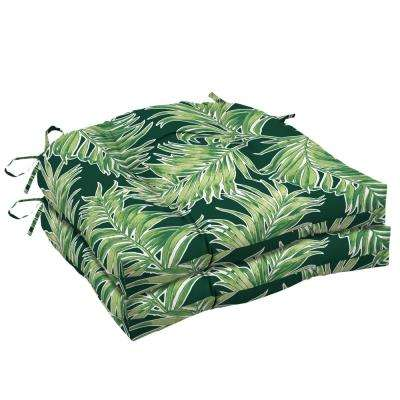 20 in. x 18 in. Emerald Quintana Tropical Rectangle Outdoor Seat Cushion (2-Pack)