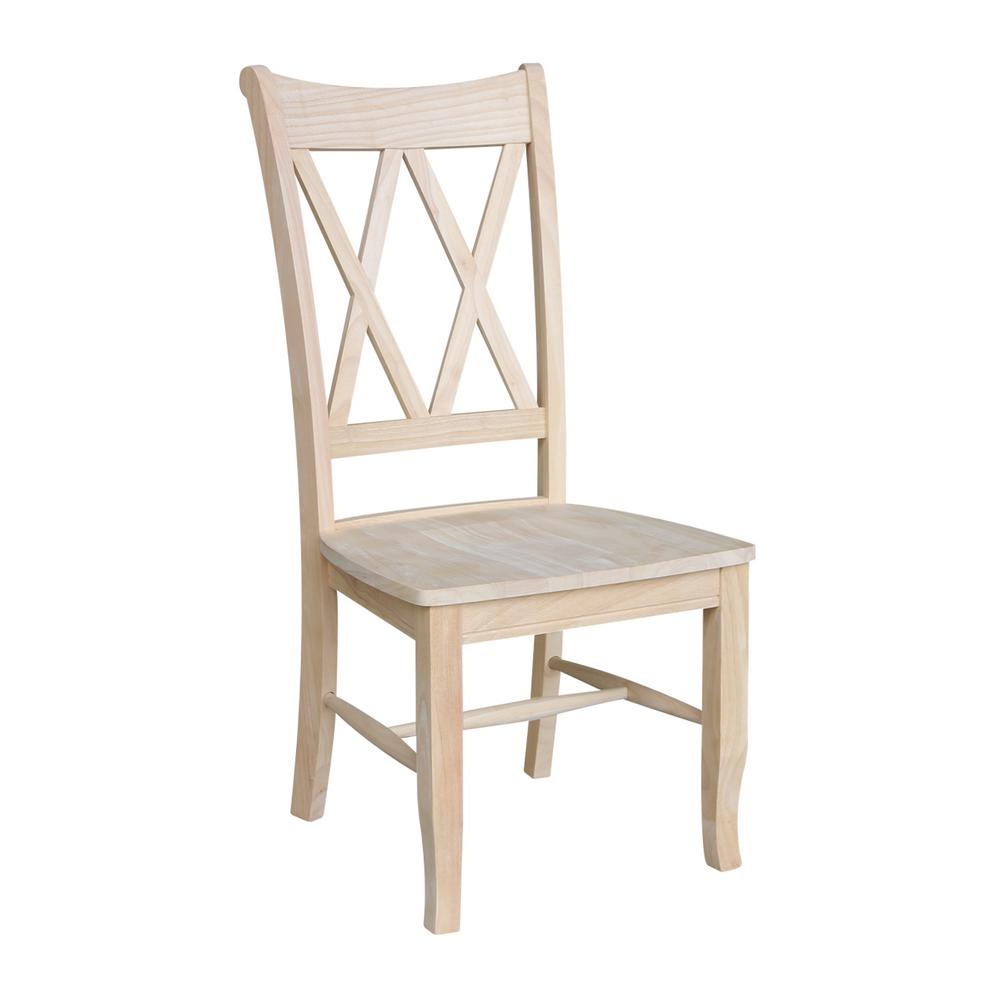 Dining Room Chairs Wood international concepts unfinished wood double x-back dining chair (set of 2)