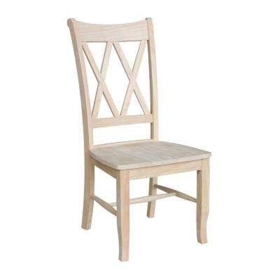 Superb Unfinished Wood Double X Back Dining Chair (Set Of 2)