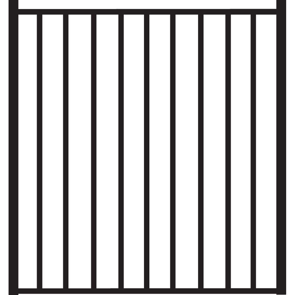 Beechmont Standard-Duty 4 ft. W x 4 ft. H Black Aluminum Straight Pre-Assembled Fence Gate