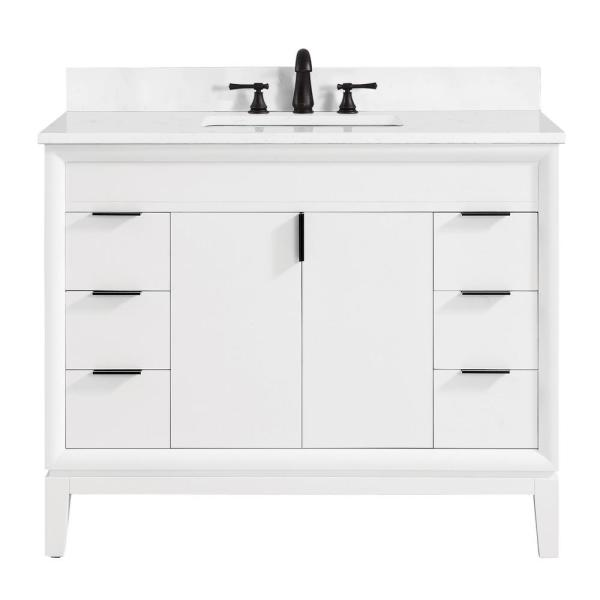Emma 43 in. W x 22 in. D Bath Vanity in White with Engineered Stone Vanity Top in Cala White with White Basin