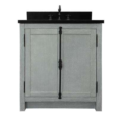 Plantation 31 in. W x 22 in. D Bath Vanity in Gray with Granite Vanity Top in Black with White Oval Basin