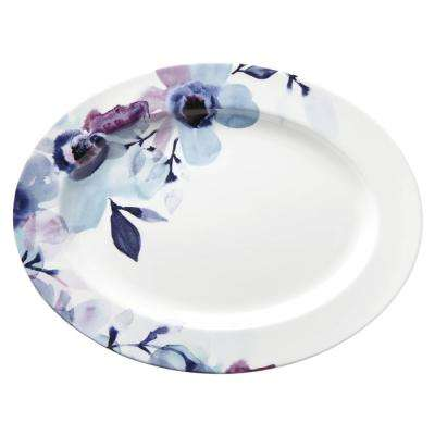 16 in. Indigo Watercolor Floral Oval Platter