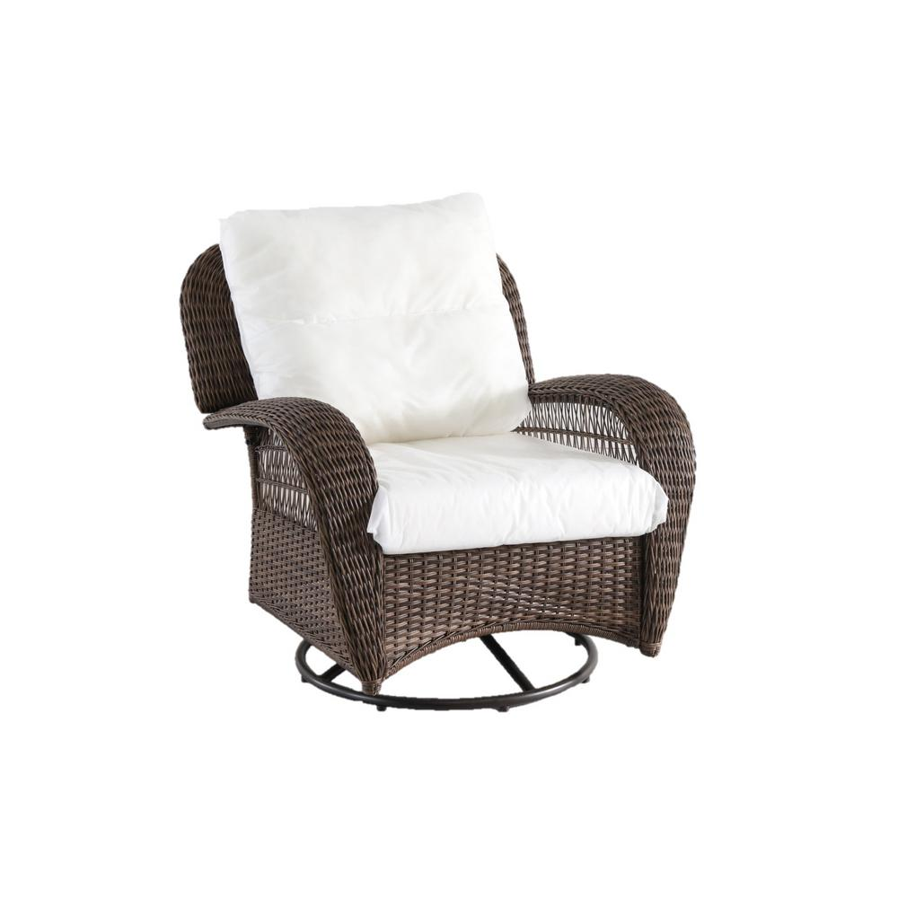 Hampton Bay Beacon Park Swivel Wicker Outdoor Lounge Chair With Cushions  Included, Choose Your Own