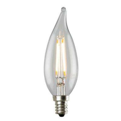 2W Equivalent Soft White 2,700K CA12 Dimmable LED Flame Tip Filament