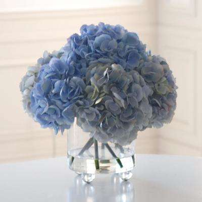 Hydrangea 17 in. Tall Bouquet in Glass Cylinder Mixed Blue Shade Flowers