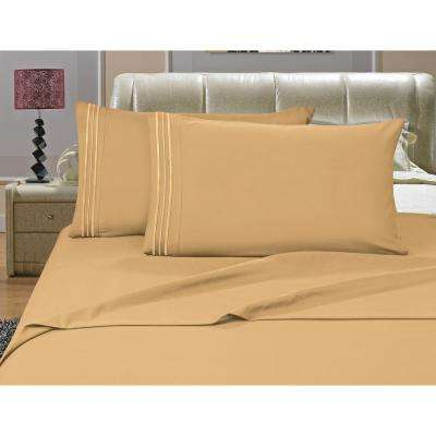 1500 Series 4-Piece Gold Triple Marrow Embroidered Pillowcases Microfiber Full Size Camel Bed Sheet Set
