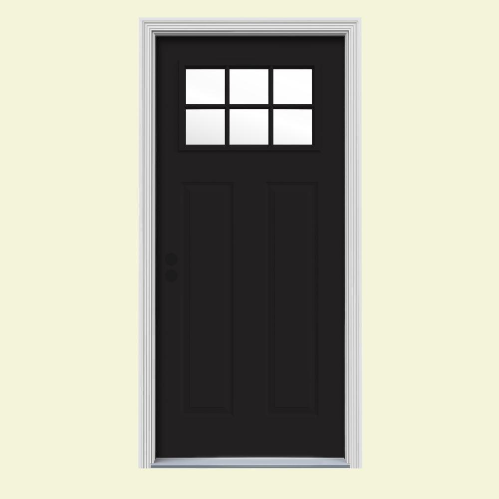 JELD-WEN 32 in. x 80 in. 6 Lite Craftsman Black w/ White Interior Steel Prehung Right-Hand Inswing Front Door w/Brickmould