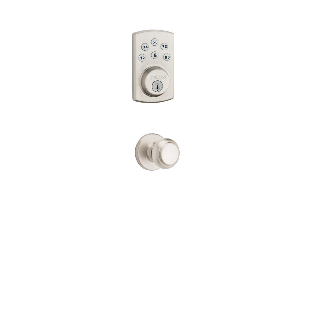 Kwikset Powerbolt2 Satin Nickel Single Cylinder Electronic Deadbolt Featuring SmartKey Security and Cove Passage Knob