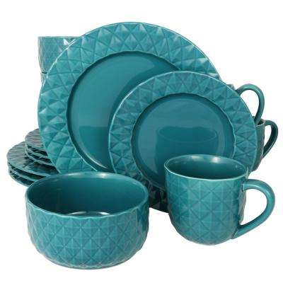 Diamonds 16-Piece Teal Dinnerware Set