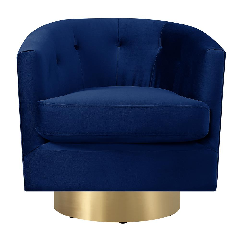Merveilleux Carolina Navy Blue Button Tufted Swivel Accent Chair