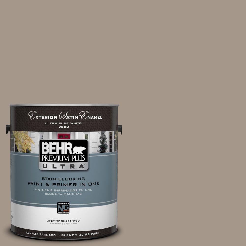 BEHR Premium Plus Ultra 1-Gal. #UL140-7 Studio Taupe Satin Enamel Exterior Paint