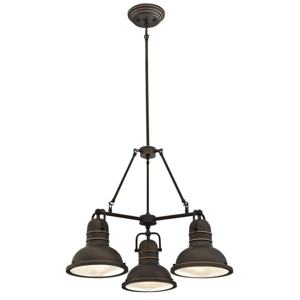 Boswell 3-Light Oil Rubbed Bronze with Highlights Chandelier and Prismatic Lens
