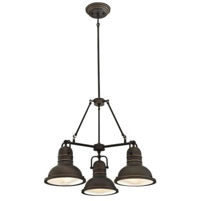 Boswell 3-Light Oil Rubbed Bronze with Highlights Chandelier and Prismatic Acrylic Lens