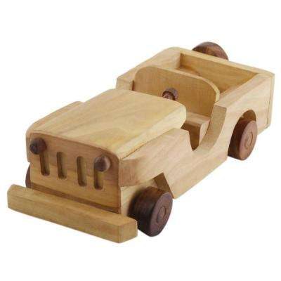Handcrafted Brown Open Jeep Wooden Toy