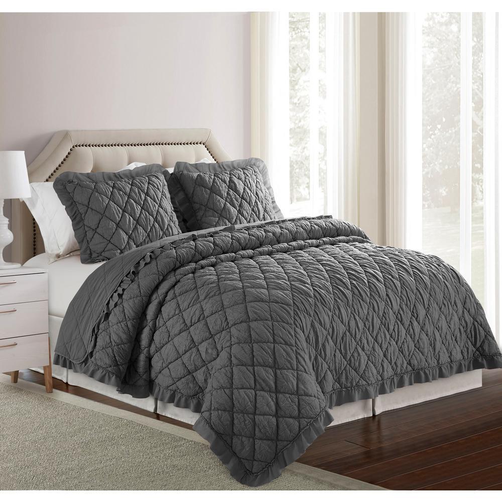 Diamond Grey Crinkle Ultra-Soft Microfiber Full/Queen Quilt Set