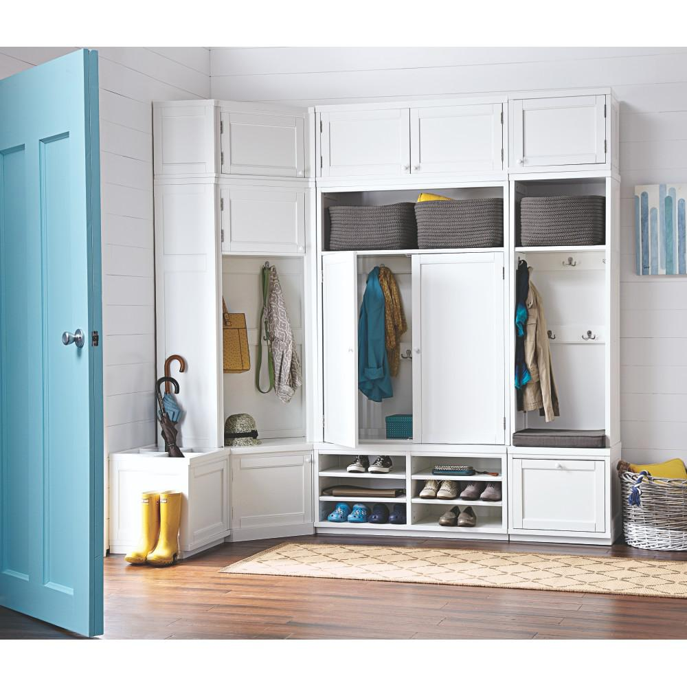Martha Stewart Living Mudroom 53.5 In. X 28.4 In. 1 Door Angled Hutch In  Picket Fence 9193600400   The Home Depot