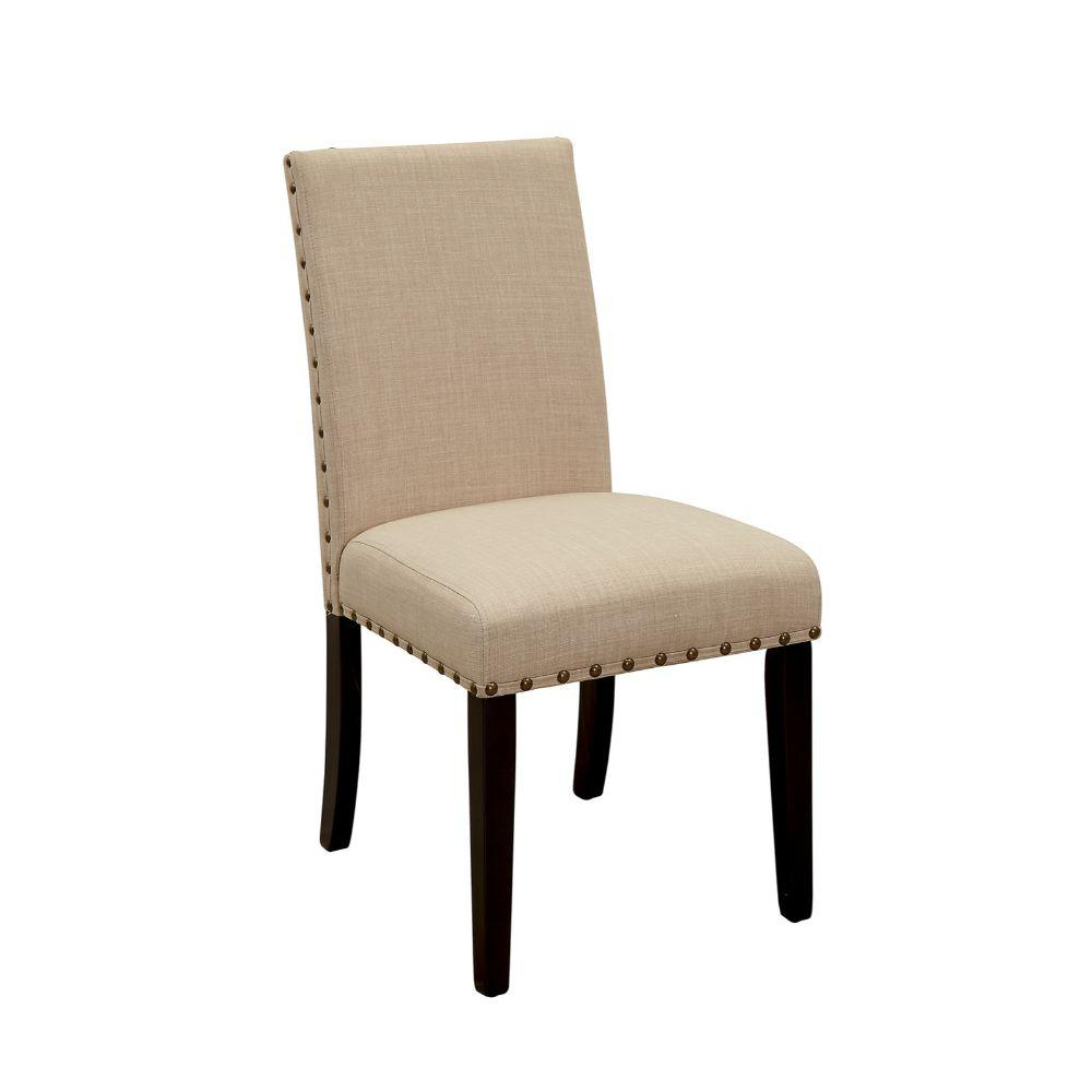 Beige and Brown Wooden Side Chair with Nail Head Trim (Pack of 2)