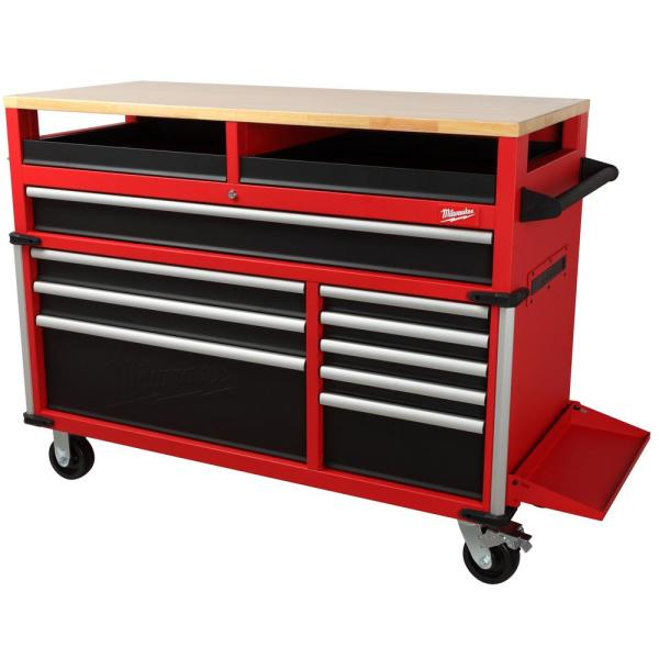 High Capacity 52 in. 11-Drawer Tool Chest Mobile Workbench with Clamp-Ready Wood Top