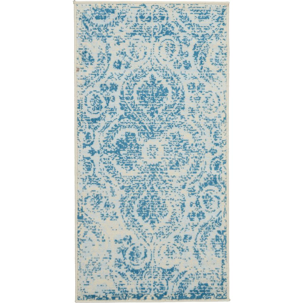 Nourison Jubilant 2' X 4' Small Teal Blue Damask Area Rug
