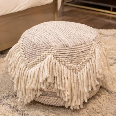 Felicity Natural Fringed Pouf