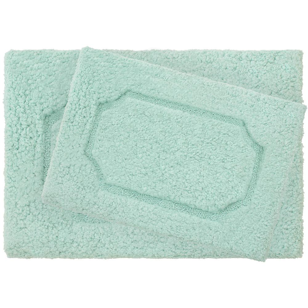 Jean Pierre Cotton HIS And HERS Aqua Bath Rug Set (2-Piece